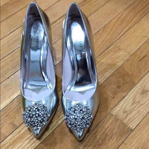 147343b54f8f99 Ted Baker Shoes | Metallic Silver Tie The Knot Peetch 38 | Poshmark